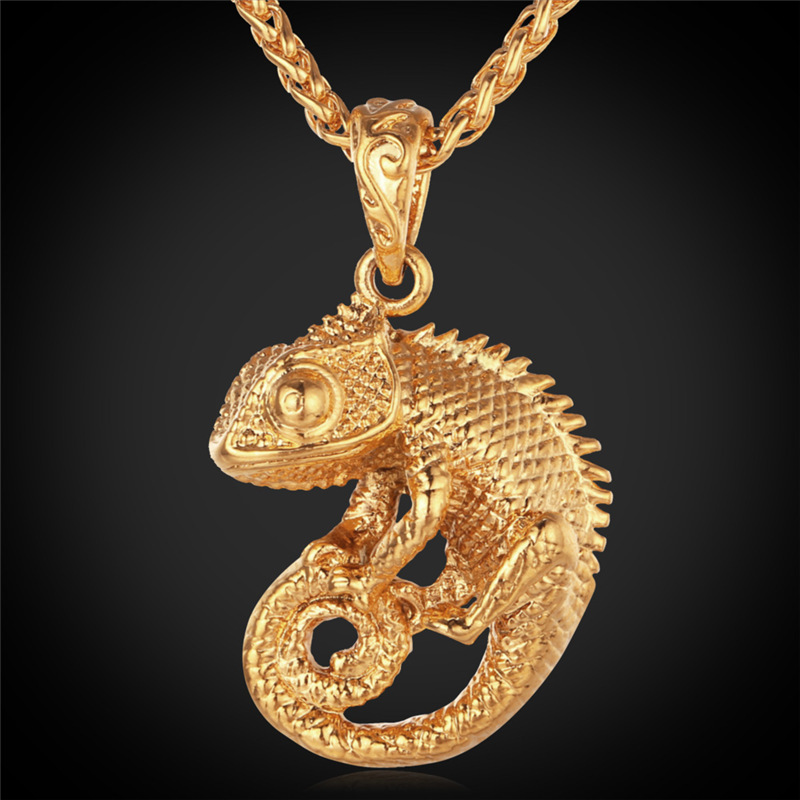 Chameleon Necklace 18K Real Gold Plated Fancy Design Trendy Fashion Jewelry 2015 Special Necklace & Pendants For Women/ Men P219(China (Mainland))