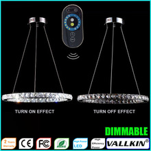 Ring Pendant Light LED Crystal Hanging Lamp Fixtures with Dimmable Ac100 to 240v For Indoor Home CE FCC ROHS VALLKIN(China (Mainland))