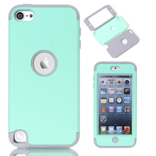 Multi Colors Impact Hard & Soft Silicone Hybrid Shockproof Case Cover For iPod Touch 5 6th Generation w/Screen Film+Stylus Pen(China (Mainland))