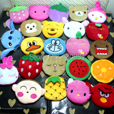 wholesale 24 pcs/lot cartoon animal wallet coin purse plushed toys purse for children gift kids coin purse(China (Mainland))