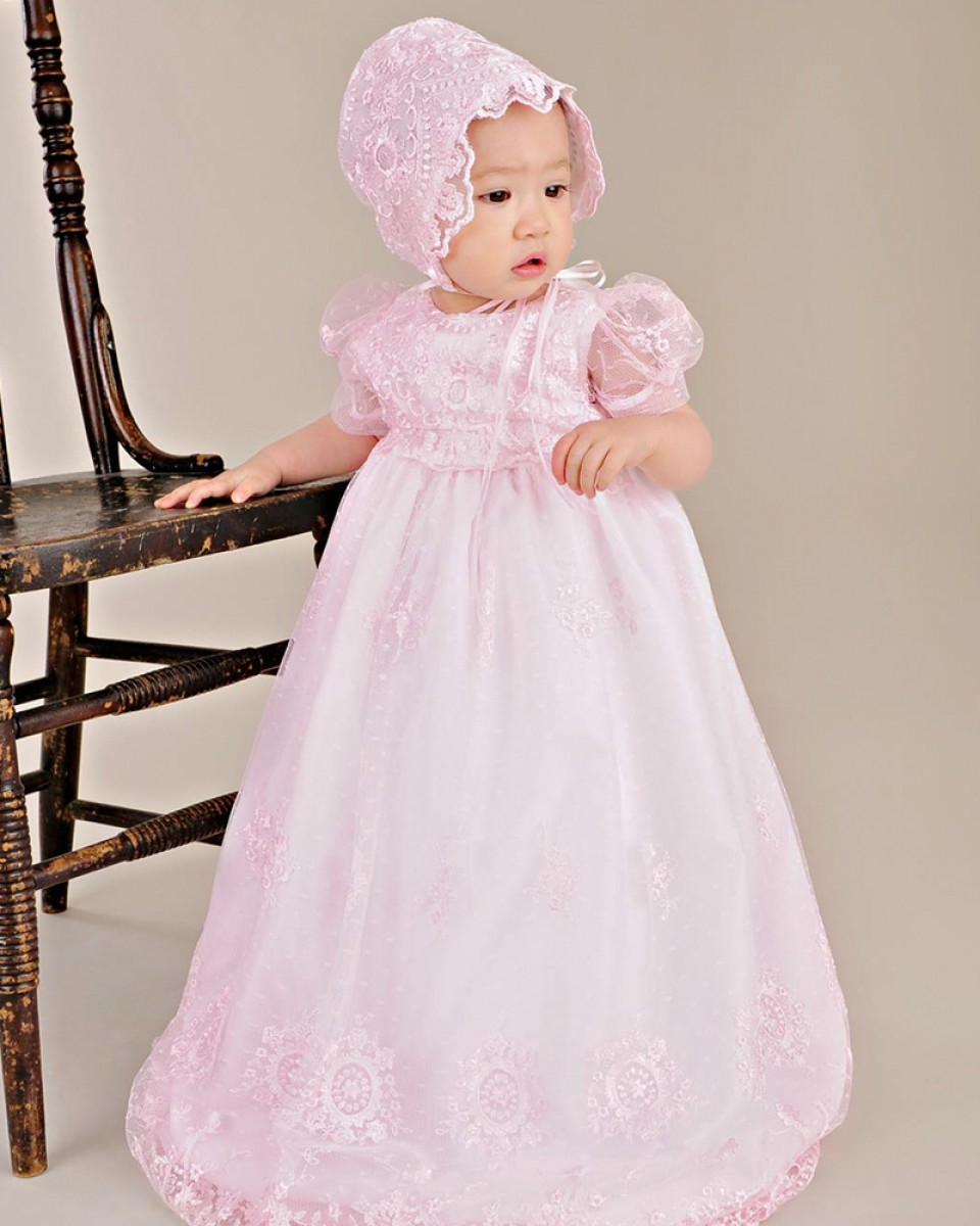 Pink Lace Appliques Short Sleeves Flower Girl Dress Kids Christening Gowns Baptism Boho Style Dress with Bonnet and Silk Sash<br><br>Aliexpress