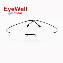 Fashion latest wholesale memory titanium eyeglass frames, hot selling cheap rimless eyeglasses for women