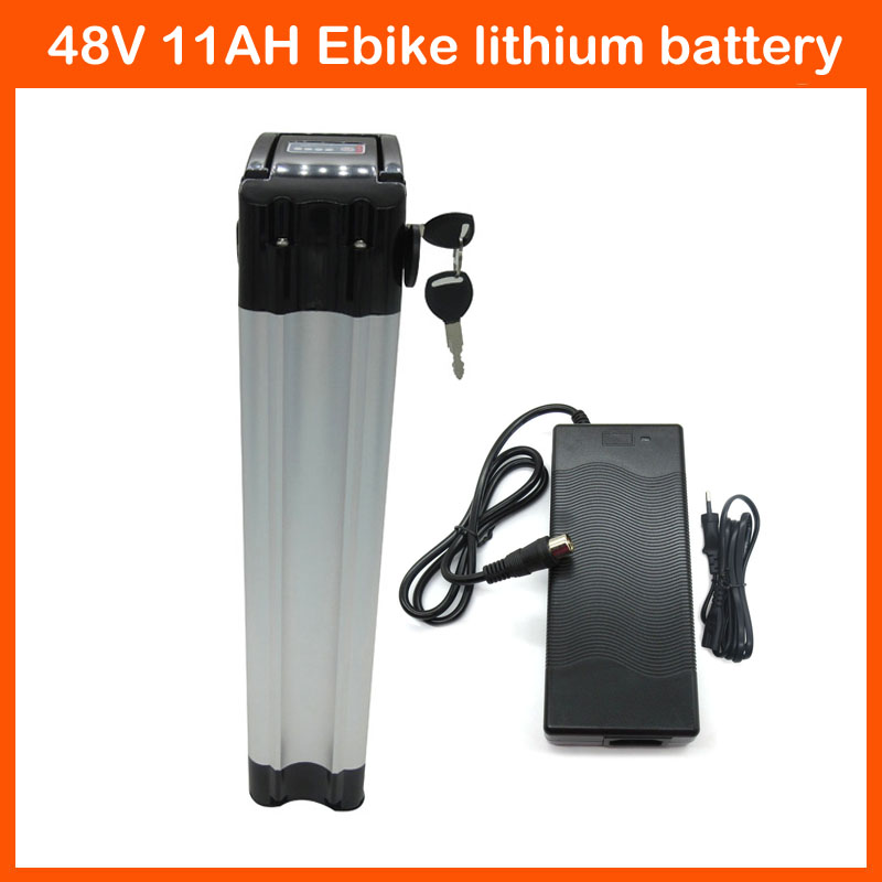 700W Top discharge 48V 11AH Electric Bicycle Battery 48V Lithium battery with Aluminium Case 54.6V 2A charger 15A BMS(China (Mainland))