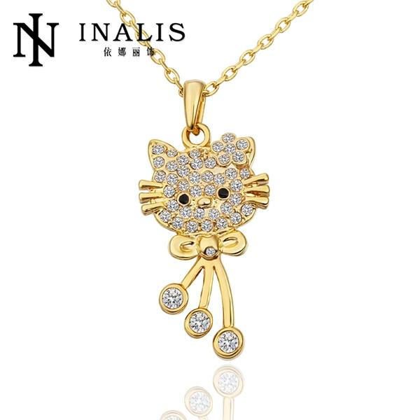 N590 Wholesale Nickle Free Antiallergic Real Gold Plated Wholesale Hello Kitty Fashion Accessory Statement Necklaces(China (Mainland))