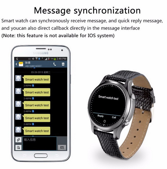 ZGPAX S360 Smart Watch SOS Wristwatch Bluetooth 4.0 Smartwatch Intelligent Wearable Electronics Sync SMS Call for IOS Android OS