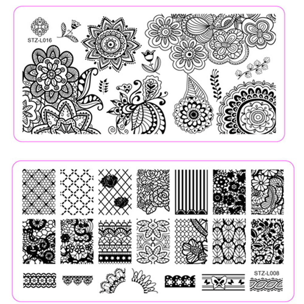 1pcs New Arrival Stainless Steel Flower Image Designs Nail Art Stamping Templates Stamp Plates Stencils 12x6cm Tips STZ-L001-020(China (Mainland))