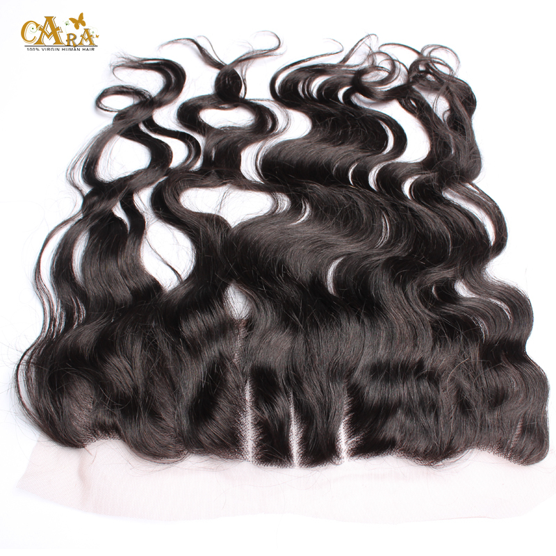 6A Grade Brazilian Virgin Hair Body Wave Lace Frontal Closure With Baby Hair Bleached Knots Full Frontal Lace Closure 13X4''