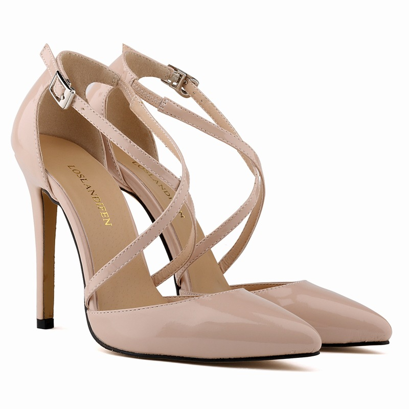 2015 New womens pointed toe patent leather cross-strap summer high heels sandals fashion brand design ladies 11cm pumps 35-42<br><br>Aliexpress