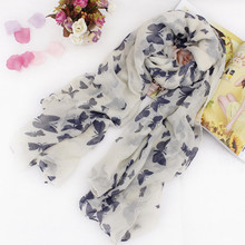 Brand Design 6 Colors Scarf Winter Scarves Fashion Elegant Romantic Butterfly Printed Cotton Voile Scarf For Woman(China (Mainland))