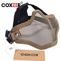 COXEER FACE MASK AIRSOFT STRIKE V2 STEEL HALF FACE MESH MASK WITH EAR PROTECTION MULTICAM MTP