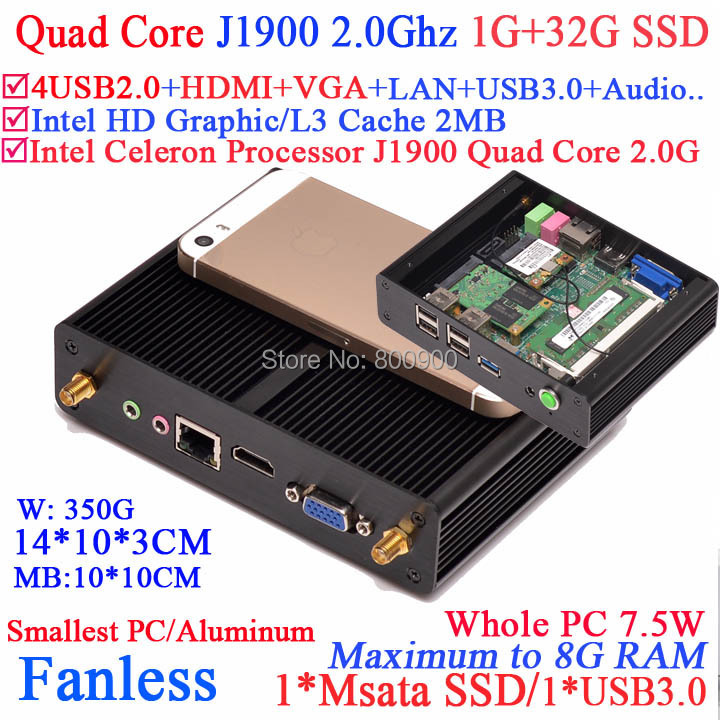 Fanless computer with Intel Celeron Quad Core J1900 HDMI VGA dual display smallest size aluminum 1G RAM 32G SSD windows or linux(China (Mainland))