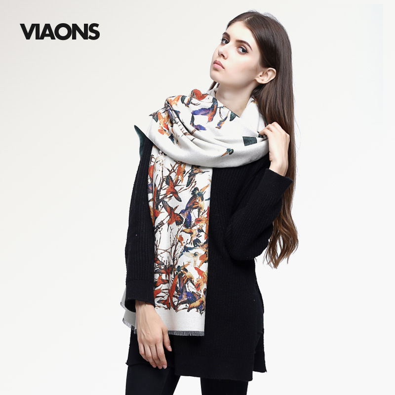 [VIAONS] 2015 Fall Fashion Silk Winter Scarf Women High Quality Digital Bird Printing Wool Scarf Brand Shawls VS013(China (Mainland))