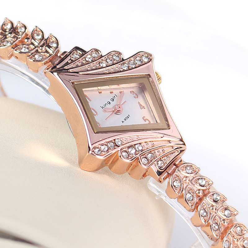 Rose Gold Crystal Rhinestone Leaf buds strap Metal Materials Dress ladies Watch Stylish Women Watches Hours Quartz Wristwatches - Mia shop store