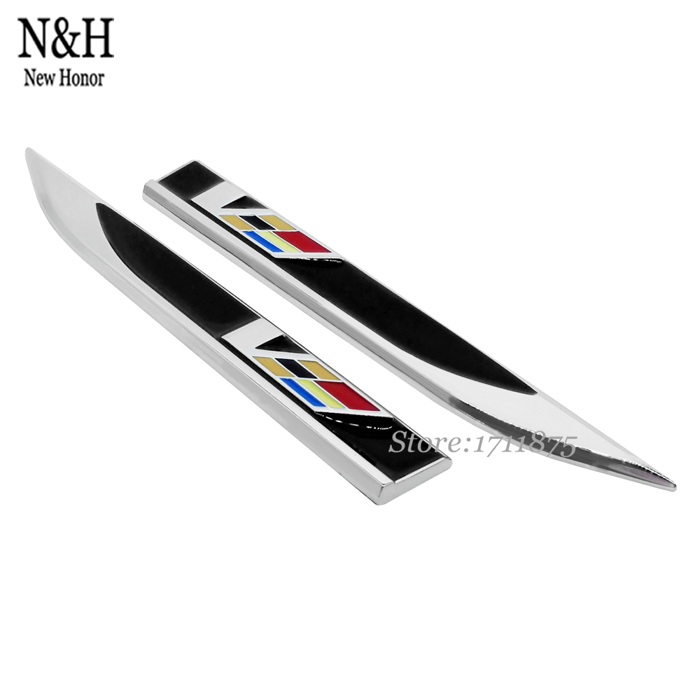 Hot Product Car Styling V Logo Shape Blade Fender Metal Side Sticker Black Decoration Stickers For Cadillac CTS SRX BLS XT5 CT6(China (Mainland))