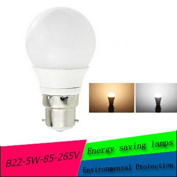 LED lamps B22 5730 SMD 85-265V 5 W Ball lights Furniture Bulb High Power Energy-saving lamps ZM01089(China (Mainland))
