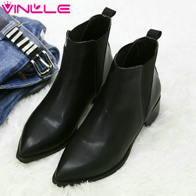 VINLLE Fashion Round Toe Genuine Leather Black Motorcycle Boots