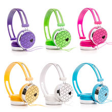 Rockpapa Love Heart Pattern Overhead DJ Styles Headphones Headset for Kids Children Boys Girls Teens Adult for iPod iPad iPhone