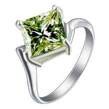 Buy green stone ring Rhodium plated vintage party gift women cz zircon wedding engagement crystal RINGS silver plated JEWELLERY for $1.73 in AliExpress store
