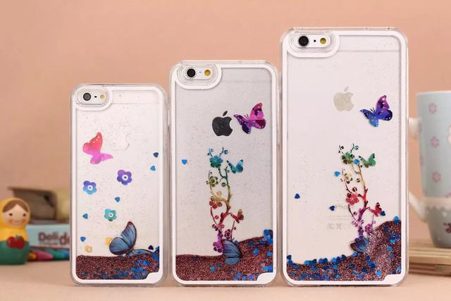 Dynamic Liquid Quicksand Bling Glitter Butterfly Case For iphone 5/5s 6 6plus Clear Transparent Back Cover Freeshipping(China (Mainland))