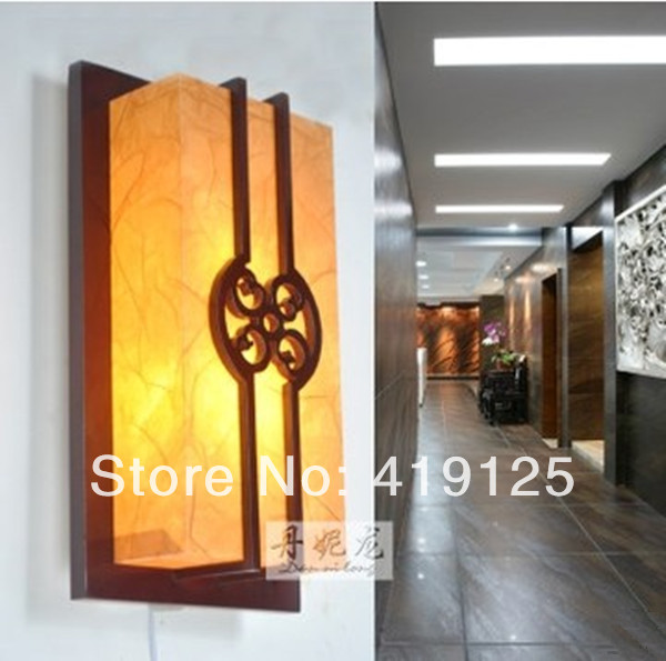 Free shipping Chinese style wooden bedside wall lamp sheepskin lamps antique vintage lamp 5014(China (Mainland))