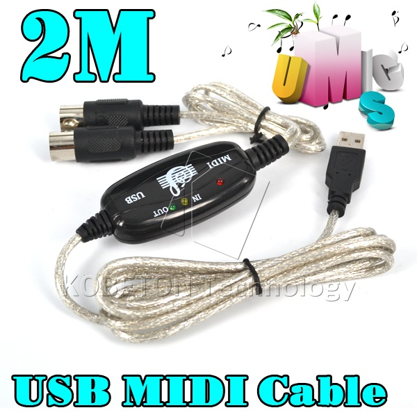 5pcs/Lot Newest 2016 Male to male 2 Meters USB IN-OUT MIDI Interface Cable Converter to Music Keyboard adpater for Hot Selling(China (Mainland))