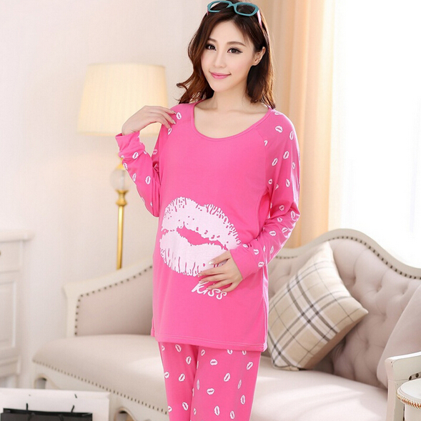 New arrival casual breastfeeding nightdress cotton nursing nightwear set plus size pregnant pajamas free shipping