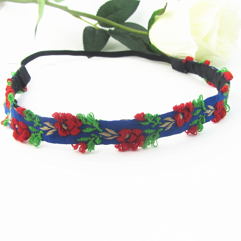 2015 Fashion Elastic Headbands Chinese Embroidery Flower Hair Accessories For Women Adjustable Headwear FD191(China (Mainland))