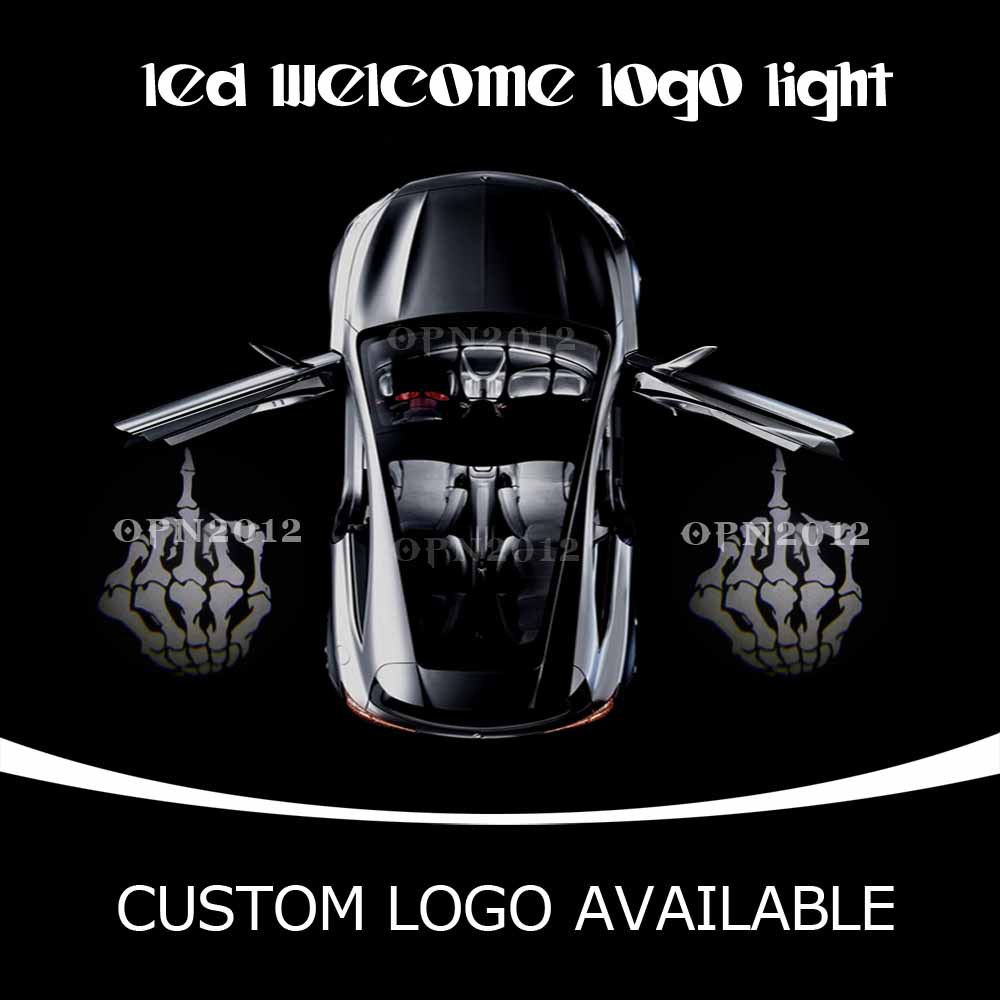 Car Door LED Projector Logo Laser Ghost Shadow LED Welcome Lights Skeleton Middle Finger For CHEVROLET VW DODGE 2233 White(China (Mainland))