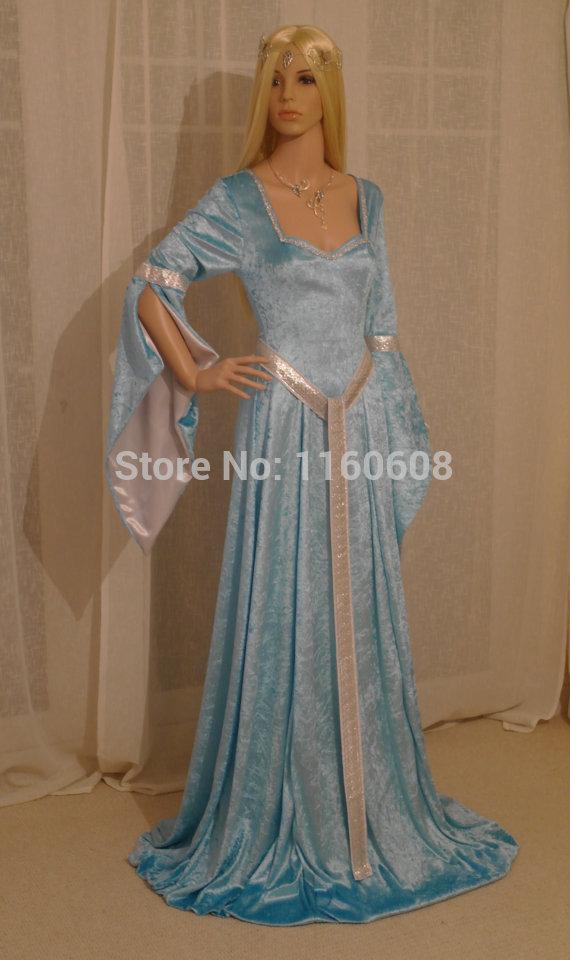 Fabulous Elven Style Gown ELVEN DRESS Medieval Renaissance Fairy Satin Dress Custom Made All SizeОдежда и ак�е��уары<br><br><br>Aliexpress