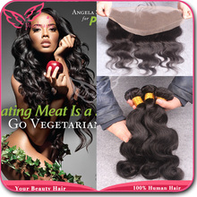 7A Brazilian Body Wave Lace Frontal With Bundles,Unprocessed Body Wave Virgin Human Hair 3 Bundles With Lace Frontal Closure(China (Mainland))