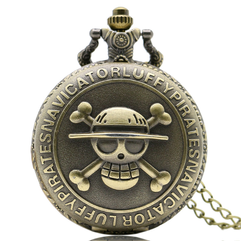 Steampunk Vintage Retro Bronze Pirate Skull One Piece Quartz Pocket Watch Necklace Men Women P28 - Guangzhou Wenhua Technology Co., Ltd. store