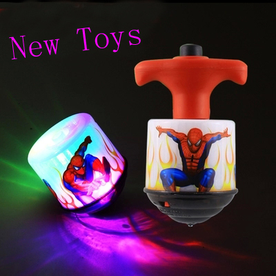 New Spider Man SPIDERMAN Flash Light Music Spinning Top LED Flashing Toys Iron Man Gyro Toy 12pcs/pack(China (Mainland))