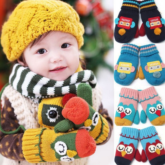 Free Shipping 2014 Children Winter Gloves Baby Gloves Warm Gloves Animal Car Robot 5 Style Mittens For Kids Multi-Colors(China (Mainland))