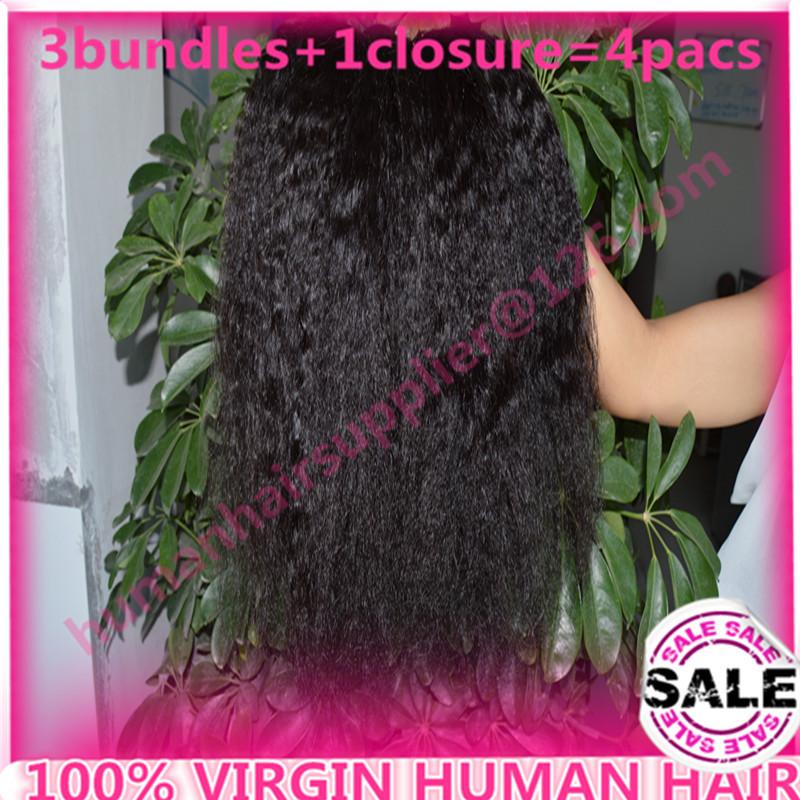coarse yaki virginy hair with closure 6a Mongolian Kinky Straight Hair Weave 4pcs Lot 100% Humen Hair Extension Italian Yaki <br><br>Aliexpress