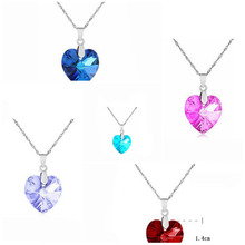 Hot sell fashion elegant heart shape pendants rhinestone women crystal necklace collier collares simple(China (Mainland))
