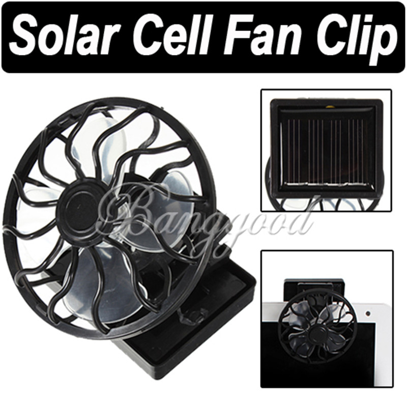 Hot Sale Newest Black Solar Cell Fan Sun Power Energy Panel Clip-on Cooling Hat Cooler Fish For Camping Hiking High Quality(China (Mainland))