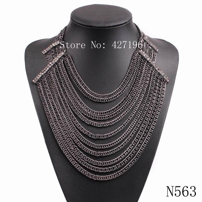 Producto de mercado chino de alta calidad de la venta directa de lujo elegante joyería multilayers collar de cadena negro(China (Mainland))