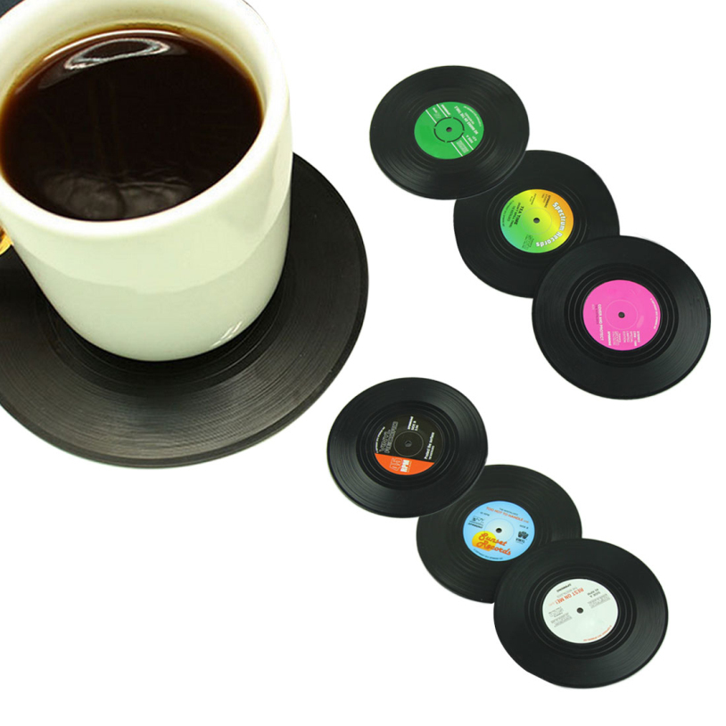 6 Pcs/set Retro Vinyl CD Record Drinks Coasters Silicone Coffee Cup Mug Pad Placemats Round Table Mat Kitchen Accessories K0055(China (Mainland))