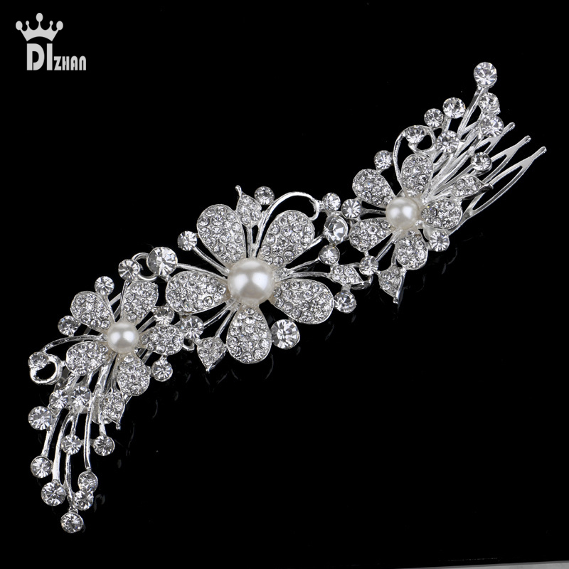 Gorgeous hair comb floral headband women pearl jewelry hairband soft chain hair ornaments bridal tiara wedding accessories EW205(China (Mainland))