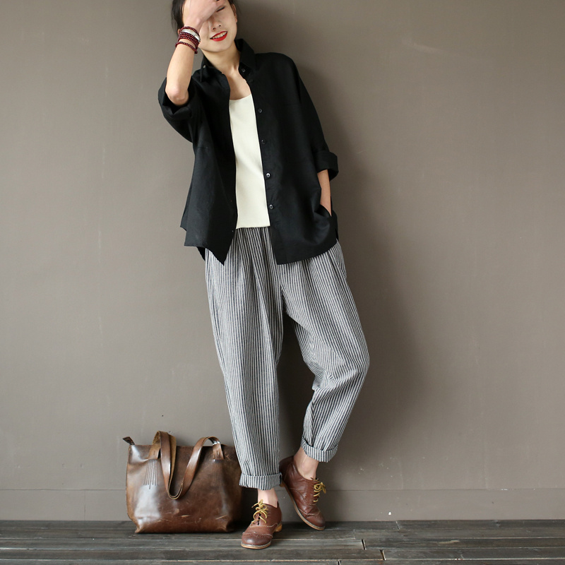 SERENELY 2016 Women Trousers Classic Striped Linen Pants Loose Radish Pants Elastic Waist Casual Pants Pantalon Harem Pants S183(China (Mainland))
