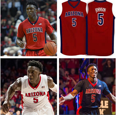 NCAA Arizona Wildcats #5 stanley johnson White Red Basketball Jersey Custom Size,Number name 100% stitched High Quality