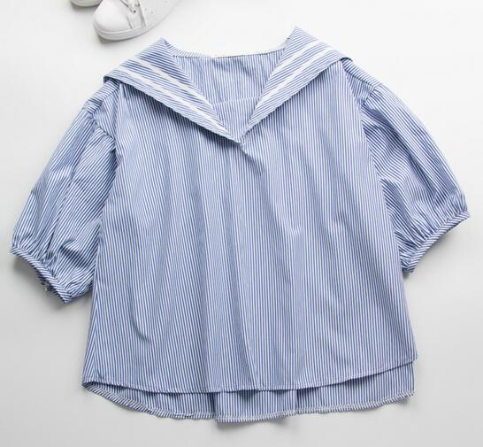 Japanese Mori Girl Cute Casual Navy Style White Blue Striped Sailor Collar Casual Blouse Loose Cotton Shirt Tops D1268(China (Mainland))