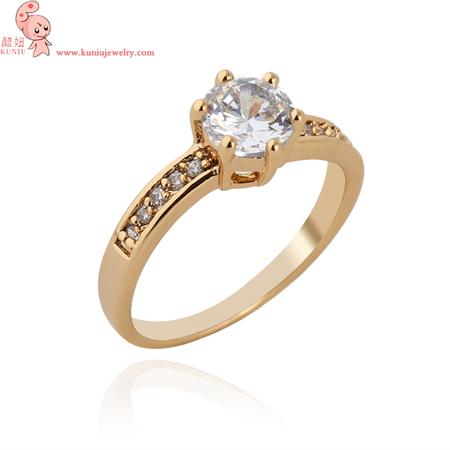 18K Real Gold Plated Princess Cut Six Claw Zircon Wedding Ring Austrian Crystals Full Sizes Wholesale (KUNIU J1375)FREE SHIPPING(China (Mainland))
