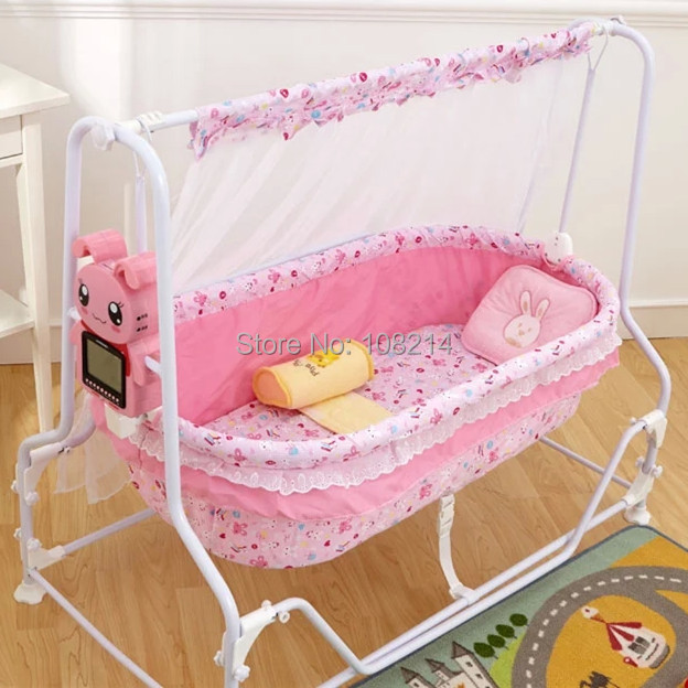 100% Cotton Fabric Electric Baby Bed Swing Bed Wholesale Crib Baby Shaker Pink and Blue Baby Sleeping Basket for Baby 0-25KG<br><br>Aliexpress