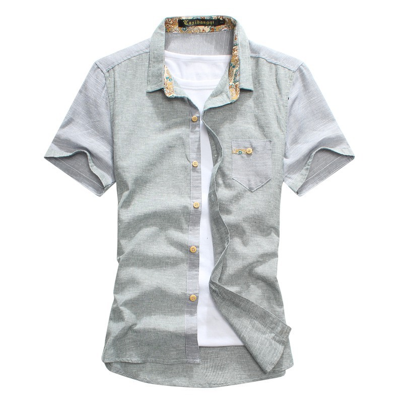 Spring summer linen cotton shirts for men shirt short for Mens summer linen shirts