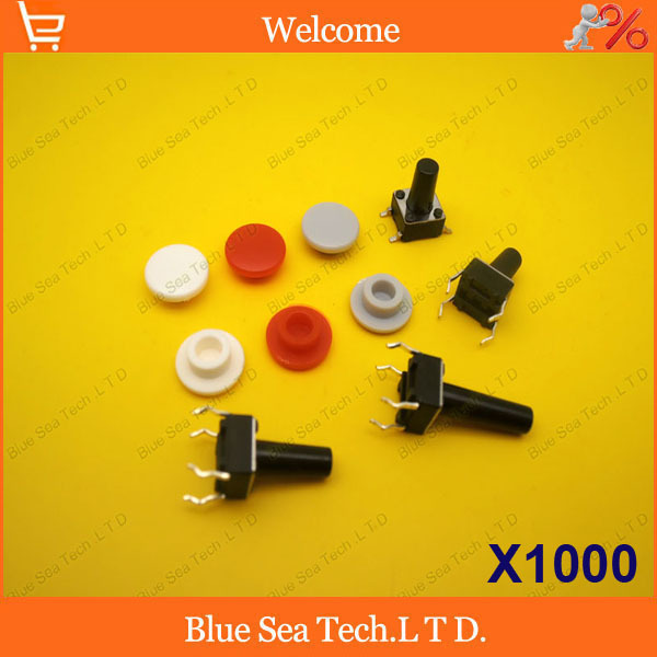 1000Pcs Tactile Push Button Switch Cap,Micro switch button Cap,Momentary Tact Cap multi color for 6*6*8mm to 6*6*12mm switch<br><br>Aliexpress