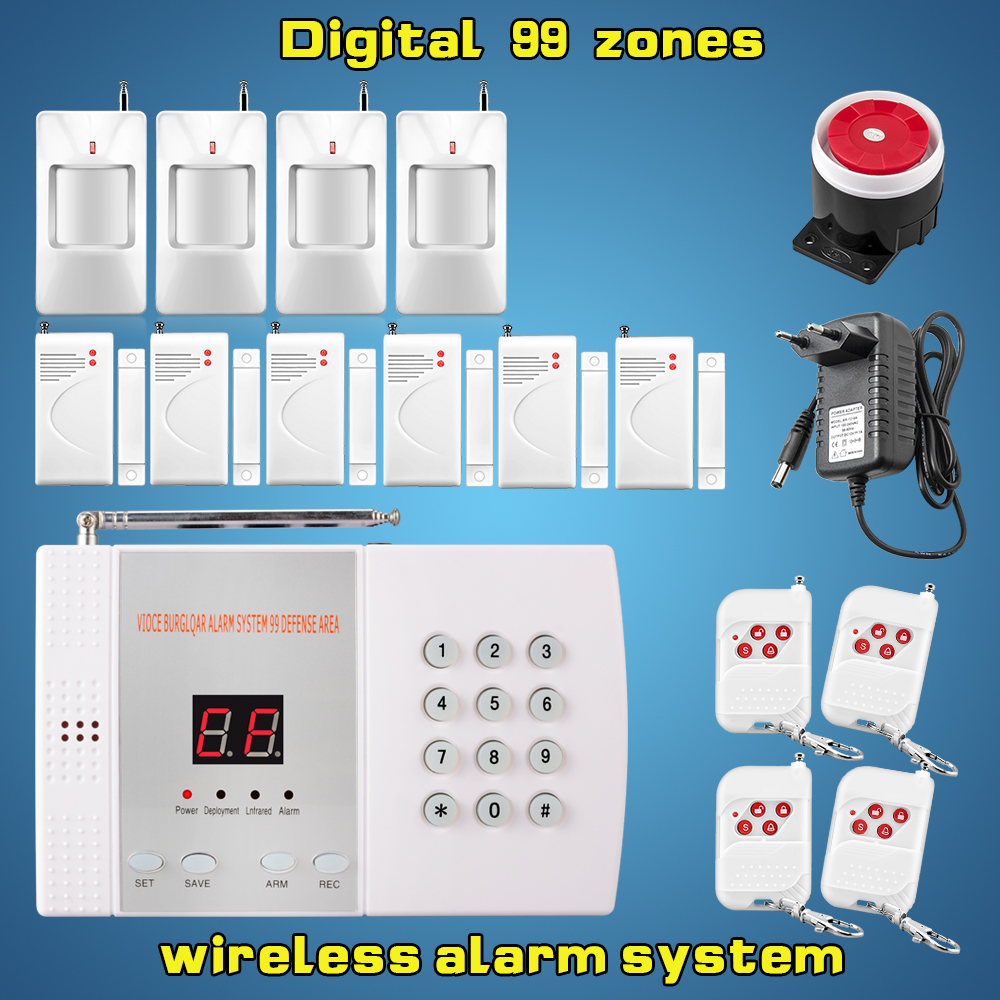 Free shipping reliable digital PSTN wireless security home alarm system auto dial alarm system with 6 door sensor 4 infrared(China (Mainland))