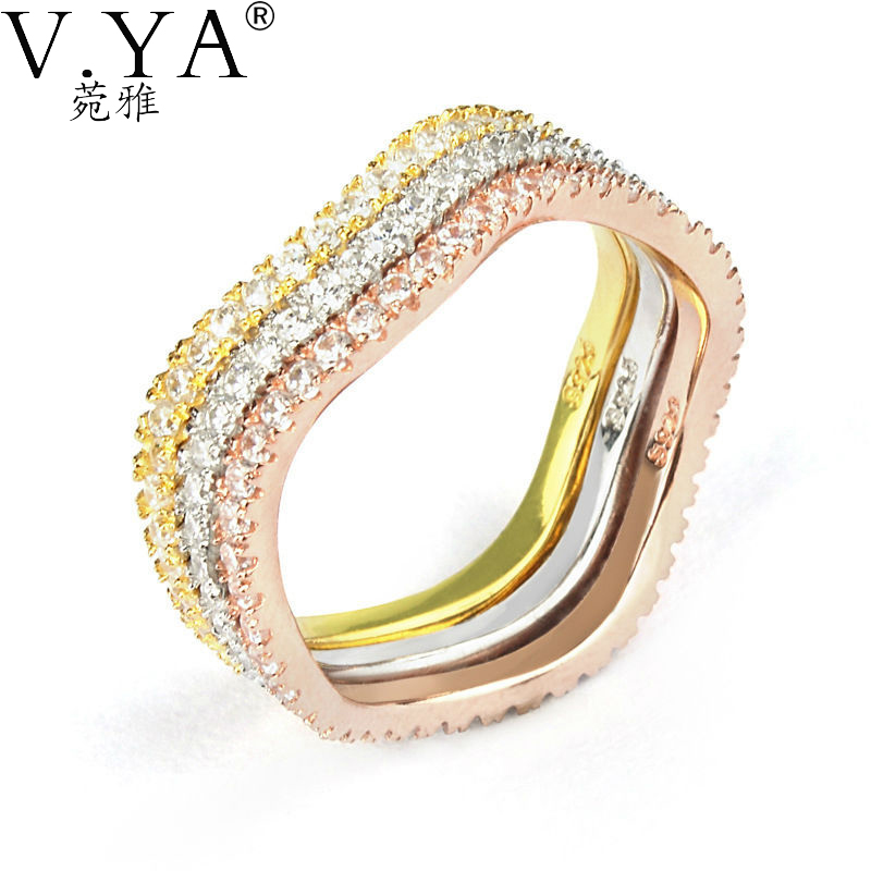 925 sterling silver ring New gold color jewelry three one CZ crystal J003 - VYA Jewelry Official Store store