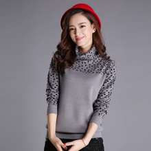 Leopard Print Sweater 2016 Fashion Autumn and Winter High-necked Long Sleeved Knit Sweater Hedging Women's Sweater (China (Mainland))
