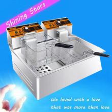 Одноцилиндровый двойной экран безмасляный печь электрическая фритюрница пончик машина картофель фри машина сковорода